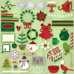cute collection- SVG file; 'Christmas cookie party' collection. Love the feather tree, skinny wreath, poinsettia, cardinal.