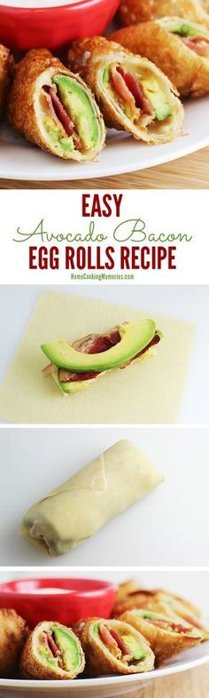 This Easy Avocado Bacon Egg Rolls recipe is insanely delicious and incredibly easy. Avocado slices, bacon, and pepper jack cheese are rolled up in egg roll wrappers and then fried to make this ultimate party food.