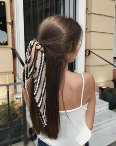 hair goals Half Up Scarf Hairstyle Idea // ig: stoianovaaaa Scarf Hairstyles, Pretty Hairstyles, Braided Hairstyles, Hairstyle Ideas, Bridal Hairstyle, School Hairstyles, Bandana Hairstyles For Long Hair, Everyday Hairstyles, Prom Hairstyles