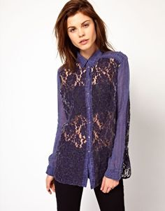 Enlarge Diesel Denim Shirt With Lace Front