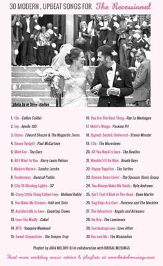 30 Modern, Upbeat & Awesome Recessional Songs from Bridal Musings Perfect Wedding, Dream Wedding, Wedding Day, Wedding Reception, Trendy Wedding, Wedding Ceremony Music, Wedding Church, Unique Wedding Songs, Wedding Dinner Music