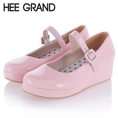 HEE GRAND Mary Janes Pumps High Heels 2016 Wedges Candy Colors Platform Wedding Shoes Woman Casual Women Shoes Size 35-43 WXG058