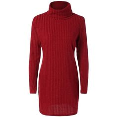 Turtleneck Ribbed Mini Sweater Dress (23 BAM) ❤ liked on Polyvore featuring dresses, ribbed turtleneck, red mini dress, ribbed dress, sweater dress and turtle neck dress
