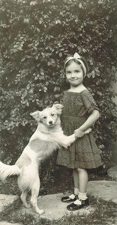 +~+~ Vintage Photograph ~+~+  This sweet girl and her playful doggie melt my heart!