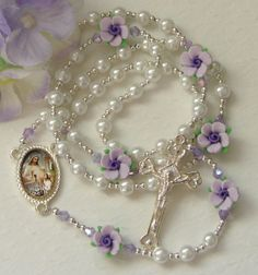 Lavender Rose Communion Girls Rosary   Maybe First Communion Gift for my girl...