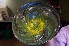 Handblown glass bowl in Western colors By Rhonda Baker Fireworks Glass Studios
