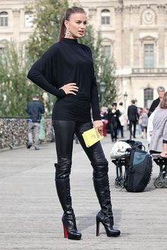 Loving Irina Shayk style with knee-high leather boots  Be featured in Model Citizen App, Magazine and Blog.  http://www.modelcitizenapp.com