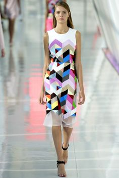 Geometric patterns on clean, strong shaped garments. updated geek chic introducing digital elements. Preen by Thornton Bregazzi Spring/Summer 2014