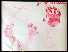 LOVE poster made by Baby (hand and feet prints) - DIY