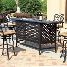 Darlee Florence 5 Piece Cast Aluminum Patio Party Bar Set With Swivel Stools Antique Bronze