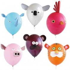 Air Heads Animal Funny Face Balloon Party Activity -- as seen on the Today Show Animal Birthday, Unicorn Birthday Parties, Birthday Balloons, Balloon Party, Jungle Party Decorations, Party Food Themes, Party Ideas, Fun Ideas, Balloon Animals