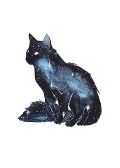 Galaxy Cat by ThreeLeaves. on - Galaxy Cat by ThreeLeaves. Warrior Cats, Fantasy Creatures, Mythical Creatures, Animal Drawings, Art Drawings, Galaxy Drawings, Drawing Animals, Galaxy Cat, Inspiration Art