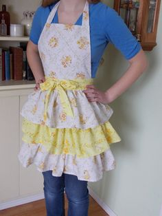 Ladies Triple Tiered Apron Made From Vintage by Vintage Sheets, Aprons, Hand Sewing, Content, Lady, Awesome, Fabric, Women, Fashion