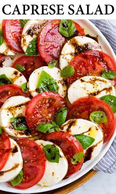 Caprese Salad - Layered with juicy fresh tomatoes, creamy fresh mozzarella, deliciously flavorful fresh basil, and it's finished with rich extra virgin olive oil, and a mildly sweet and tangy balsamic glaze. #caprese #salad #sidedish #appetizer Salade Caprese, Caprese Salad Recipe, Salad Recipes, Caprese Salad Dressing, Vegetarian Recipes, Cooking Recipes, Healthy Recipes, Appetizer Recipes, Dinner Recipes