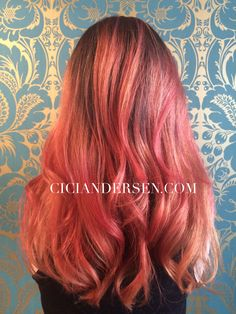 Sherbet balayage. Orange pink salmon colored hair. Punky colored and fabulous! By Cici Andersen  in NoHo / LA,CA