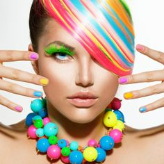 Board Cover - Beauty Girl Portrait with Colorful Makeup, Hair, Nail polish and Accessories Colorful Nail Designs, Colorful Makeup, Colorful Nails, Beauty Makeup, Hair Makeup, Hair Beauty, Body Makeup, Bitchslap Cosmetics, Stock Photo Girl