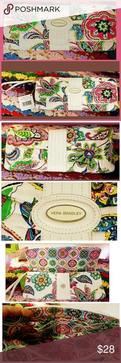 "Vera Bradley Palm Beach ""Darling"" Clutch Wristlet ~ New With Tags Limited Edition Retired Palm Beach Gardens Collectionvera Can be carried as a clutch or as a wristlet using the detatchable wrist strap. ~Accented with faux (vegan) leather, Silvertone hardware and Vera Bradley nameplate. ~Magnetic snap front closure opens to a beautifully lined interior featuring 1 zippered pocket & 6 card slots.? ~Handbag is made of Silk, Cotton, Faux Leather & silvertone metal hardware. ~Measurements:?11""…"