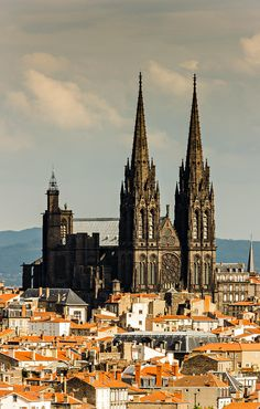 Roofs and cathedral of Clermont Ferrand, Auvergne, France