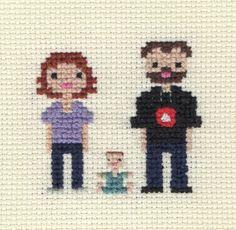 Pattern Custom Family Portrait Pixel Cross by ScarletPyjamas