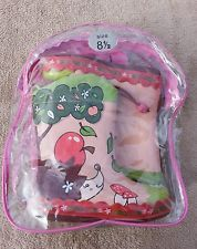 SIZE 8.5 GIRLS CLARKS WELLY BOOTS HEDGEHOG DESIGN WITH CARRY BAG WELLINGTONS