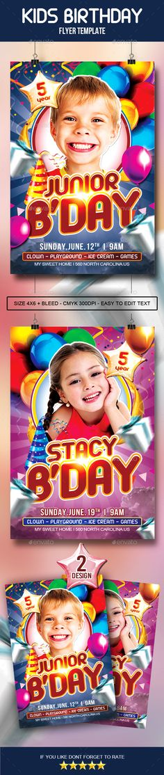 Kids Birthday Party Flyer Party flyer, Flyer template and Template