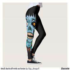skull dark elf with no brain Skull Leggings, Dark Elf, Brain, Pattern, Pants, Design, Women, Fashion, The Brain