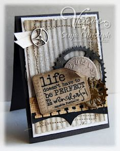Like the ticking stripe background for a masculine card