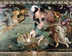 "Bella's latest work of art by Sandro Bellacelli, ""The Birth of Venus""! The Birth Of Venus, Dog Art, New Work, Gallery, Illustration, Artwork, Artist, Sandro, Painting"