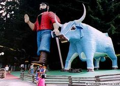 Paul Bunyan and Babe the Blue Ox, Klamath, California (Shawn owes me a trip to see him, as he didn't think traveling 100 miles out of our way was worth it at the time. He's had eight years to regret that decision.)