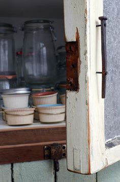 pantry commission 3/12 close up of old nail door pull by Matthew Holdren,