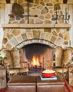 Traditional Style With The Top 70 Best Stone Fireplace Design Ideas Stone Fireplace Designs, Fireplace Stone, Fireplace Ideas, Lodge Look, Ranch Decor, Rock Fireplaces, Interior Decorating, Interior Design, Interior Ideas