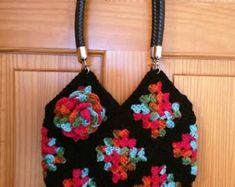 Granny Square Bag with flowers  for little and by PdfPatternDesign