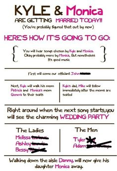 Wedding Brown Ceremony Different Diy Fun Funny Pink Programs Quirky Unique PROGRAM 2