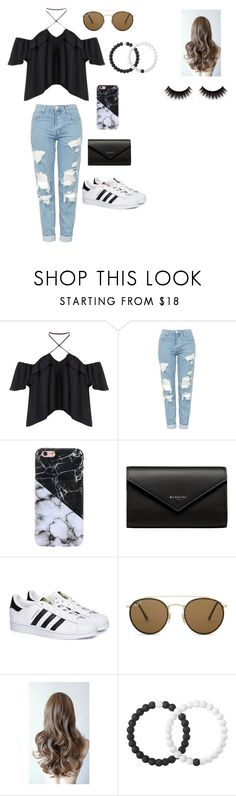 """Black and White marble"" by mikaelagreenfield ❤ liked on Polyvore featuring Topshop, Balenciaga, adidas, Ray-Ban and Lokai"