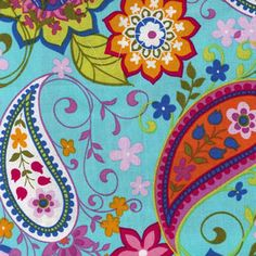 """Michael Miller """"Paisley Spree in Turquoise"""""""