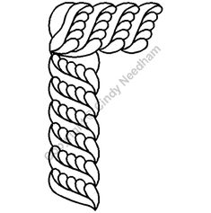 """Continuous Line Quilting Stencils > 5"""" - 6"""" Border C.L. - Item: 5"""" Feathered Rope Cable on QuiltingCreations.com"""