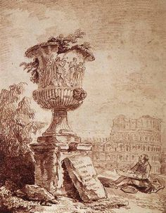 Hubert Robert (1733-1808) The Draughtsman of the Borghese Vase Red chalk 1775
