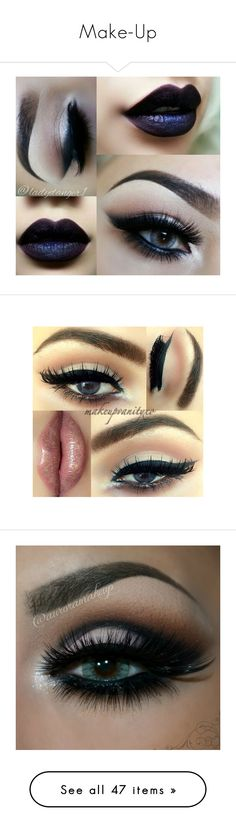 """""""Make-Up"""" by fearless-flawless on Polyvore featuring beauty products, makeup, eyes, lips, eye makeup, false eyelashes, beauty, lip makeup, lipstick and cosmetic bags"""