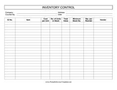 This printable inventory control log keeps track of stock levels and reorders. It is available in PDF, DOC, or XLS (spreadsheet) format. Free to download and print