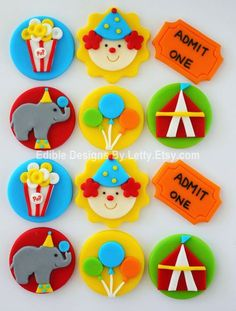 Edible Fondant Circus Themed Cupcake by EdibleDesignsByLetty Fondant Cupcakes, Clown Cupcakes, Fondant Toppers, Themed Cupcakes, Cupcake Cakes, Valentine Cupcakes, Rose Cupcake, Pink Cupcakes, Carnival Cakes