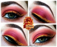 Ariel Make Up ~ Make Up & Beauty with a Princess Touch: ♕ Sunday Make Up ♕ Gryffindor Inspired Look ♕ Harry Potter Makeup, Harry Potter Nails, Harry Potter Cosplay, Harry Potter Art, Nerd Makeup, Eye Makeup Art, Beauty Makeup, Maquillage Harry Potter, Maquillage Normal