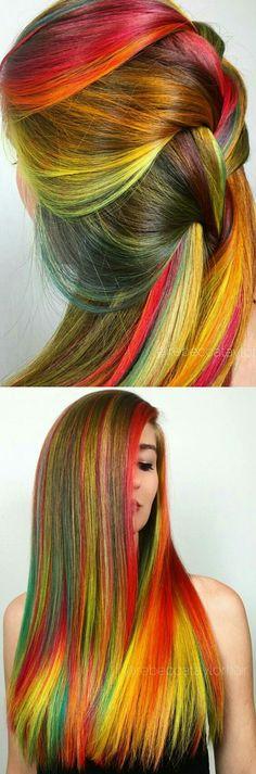 Rainbow multi streak dyed hair color @rebeccataylorhair
