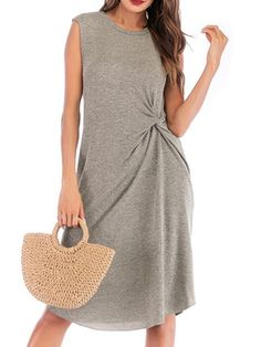 Color : Grey Fabric : Cotton Blend Pattern : Solid Color Style : Casual The post Jewel Neck Knotted Sleeveless Beach Dress appeared first on Power Day Sale. Casual Dresses, Casual Outfits, Beachwear For Women, Fashion Colours, Grey Fabric, Jewel, Gray Color, Badass Style, Dress Summer