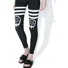 Pentagram Graffiti Goth Leggings ($45) ❤ liked on Polyvore featuring pants, leggings, high rise leggings, goth leggings, stretch pants, white stretch pants and gothic leggings