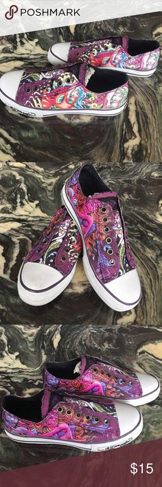 Ed Hardy Purple Mermaid Slip On Sneakers 💜🦄 Hardly worn, in excellent condition! Different design on each side of shoe. Converse-style low top sneakers, super comfy! Ed Hardy Shoes Sneakers