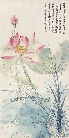 Like the lotus flower Chinese Painting Flowers, Lotus Painting, Japan Painting, Ink Painting, Lotus Flower Art, Lotus Art, Watercolor And Ink, Watercolor Flowers, Fleurs Art Nouveau