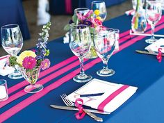 Hot Pink, Bright Yellow and Navy color combination