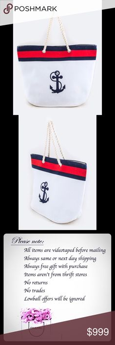 "✨NEW✨Structured Anchor Canvas White Tote Bag ⚓️ Structured ,roomy Anchor Canvas White Tote ⚓️ Beige interior , perfect for hot summer days 💕Length - 21.5"" Width - 9"" Height - 16"" / 26"" With Handle Composition - 30% Jute 70% Polyester Please note : since Bundle discount is 10% off 2 or more items - any additional bundle offers will not be accepted at this time Bags Totes"