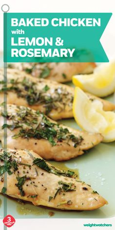 Goodbye boring chicken breast, hello yum! Fresh rosemary, parsley & lemon juice give this Baked Chicken recipe fantastic flavor.