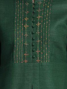Green Mandarin Collar Thread Embroidered Matka Silk Kurta
